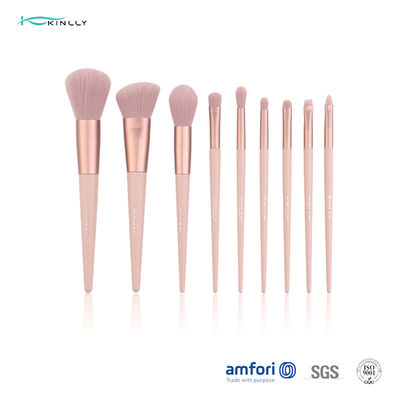 Poly Bag Light Pink 9pcs Travel Makeup Brush Set
