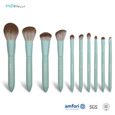 Wooden Handle 10pcs Alu Ferrules Cosmetic Makeup Brush Set