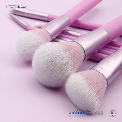Purple Travel 9pcs Plastic Makeup Brushes With PU Pouch