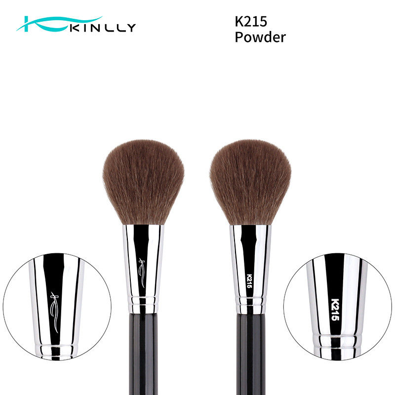 Silver Blusher Natural Hair Makeup Brush for face